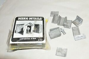 HO scale Woodland Scenics D214 cast metal kit 3 OUTHOUSES AND MAN