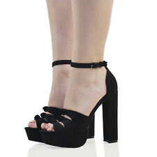 Womens Ankle Strap Platform High Heel Sandals Ladies Cut Out Peep Toe Shoes