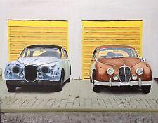 Jaguar car oil painting picture classic car gifts for him transport art 18x14