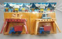 2x Vintage Jean Höfler LKW Spielset Hafen-Container-Kran + Lastwagen W. Germany