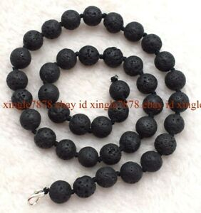 """Natural 10mm Black Volcanic Lava Round Gemstone Beads Necklace 18-45"""" AAA+"""