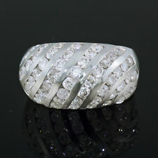 Gold Domed Band Right Hand 2.5 ct 2-1/2 carat tw Diamond Cocktail Ring 14k White