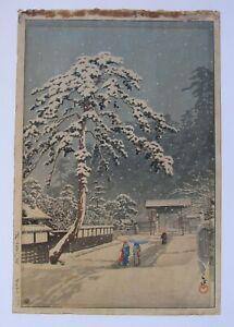 Original KAWASE HASUI Ikegami Honmonji Temple in Snow Japanese Woodblock Print