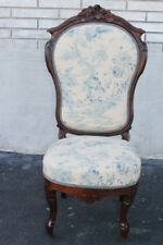 Lovely American Victorian Rococo Solid Rosewood Bedroom Chair, New Upholstery