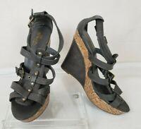 SBicca Womens Sandals Wedge Gray Karen Cork Size 7M Strappy High Heel