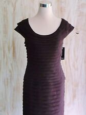 ADRIANNA PAPELL: NWT-RICH BROWN FLATTERIN & FITTED MULTI-PLEATED DRESS-SIZE 14