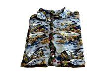 Mens Hilo Hattie Aloha Friday Camp Shirt Diamond Head Hawaii Volcano 100% Silk