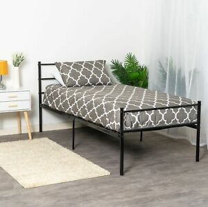 Single Bed Frame Black Metal For Adults Kids Teenagers Standard 3ft 190 x 90cm