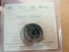 CANADA 25 CENTS 2015 COLORIZED POPPY ICCS PRO-GRADED MS-65   A1220a