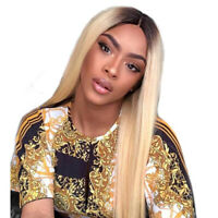 Ombre Blonde Straight Hair Lace Front Wig Brazilian Full Lace Human Hair Wigs