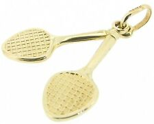 Gold charms 9Carat 9ct yellow double tennis rackets pendants vintage design