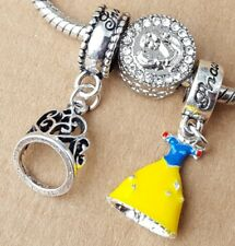 Disney Princess SNOW WHITE Tiara Dress CZ Love First Kiss European Beads Charms