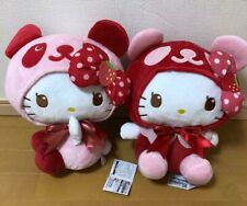Hello Kitty Strawberry Panda BIG Plush Doll Set of 2 FuRyu Prize Sanrio 35cm