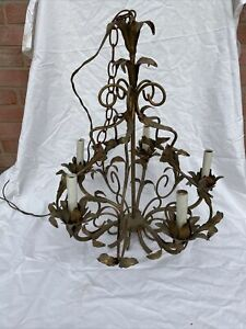 ANTIQUE ORIGINAL GILT GOLD & METAL CHANDELIER