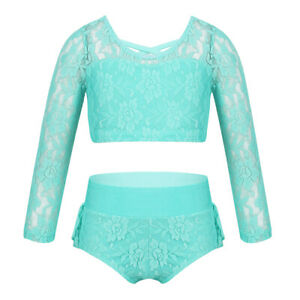 Girls Ballet Gym 2PCS Floral Lace Crop Tops+Shorts Set Dancing Workout Outfits