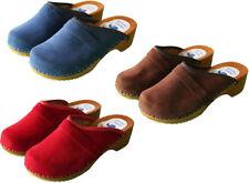 Women's Swedish Clogs Danish Velour Wooden Sole Sandals Beach Leather Upper 3-8