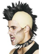 Année 1980 Perruque Mohican Noir pour Hommes Punk Rocker Accessoire Déguisement