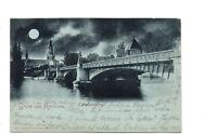 AK Gruss aus Konstanz Rheinbrücke Mondscheinkarte um 1900