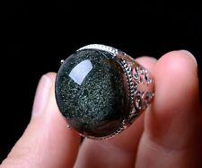 Rare Natural Green Ghost Crystal Healing Wealth Men Adjustable Ring 21*18*13mm