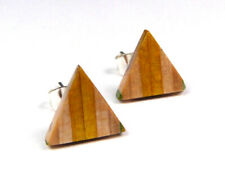 RECYCLED SKATEBOARD Wooden Stud Earrings Pyramid Triangle Handmade Ear Fashion