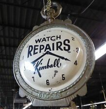 Antique 2-SIDED WATCH REPAIRS TRADE SIGN.Cast Iron Frame.Tin Watch Faces.1900-30
