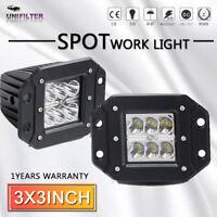 Fit Jeep Wrangler JK 3'' inch Work LED Light bar Offroad Driving Pods Fog Lamp