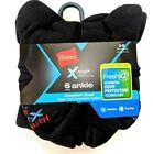 Hanes X-Temp Mens Cushion Ankle Socks Fresh IQ Shoe Size 6-12 Large 6-Pair Black