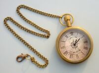 Vintage Brass Roman Numbers Pocket Watch Clock Latest Fashion Nautical Antique