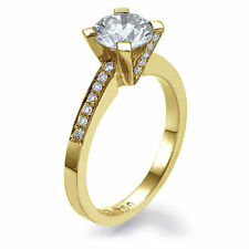 Solitaire with Accents Yellow Gold SI1 Fine Diamond Rings