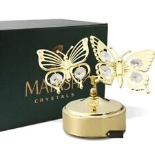 Matashi 24K Gold Plated Music Box & Crystal Butterfly Figurine Ornament -Memory