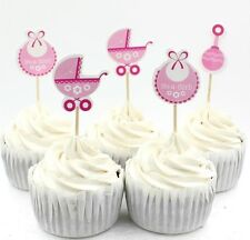 "BABY SHOWER 24 X ""IT'S A GIRL"" CUPCAKE / CAKE TOPPER PICKS / PINK/WHITE"