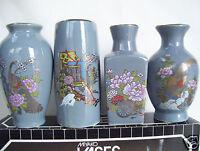 "Vintage Japanese Miyako porcelain vases set of 4 Mint In Original Box 4"" Tall"