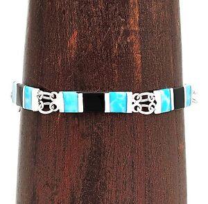 Inlaid Larimar and Onyx Contemporary Modern Bracelet Jewelry Taxco Mexico