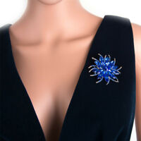 Brooch Pins For Women Top Quality Flower 14k White Gold Broches in 2Ct Sapphires