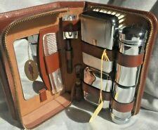 VGCVintage Connoisseur Gents Toiletry Leather Case Chrome Shaving Accessories