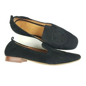 Tory Burch Leigh Loafers Black Suede Leather Flats Shoes Size 7 Square Toe