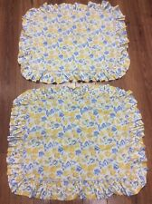 VINTAGE LAURA ASHLEY SHAMS SET OF 2 STANDARD FLORAL GOLD PERIWINKLE RUFFLE  CUTE