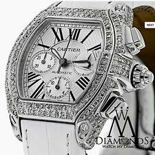 Diamante CARTIER ROADSTER XL Reloj W62019X6 Esfera Blanca sobre ALLIGATOR Correa