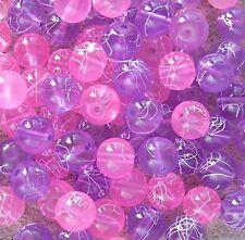 100 x 8mm LIGHT PURPLE & PINK Round Glass Drawbench Beads MIX