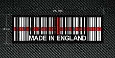 2 x MADE IN ENGLAND BAR CODE Stickers/Decals with a Black Background - EURO  DUB