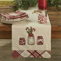 Mason Peppermint Table Runner Candy Cane Red Ivory Gray Plaid Christmas Dining