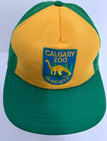 Vintage 1970's Calgary Zoo Snapback Mesh Green & Yellow Trucker Hat