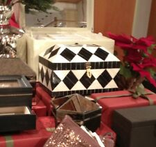 Pottery Barn Harlequin Jewelry Box Black Ivory Lift Top French Diamond NIB