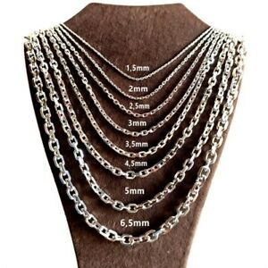 Ankerkette Massiv 925 Echt Silber Halskette Anker Halskette Ø1,5- Ø6,5mm NEU