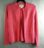 Vintage  Tanner Pink Knit Sweater Cardigan Womens Size M Open Front Long Sleeve