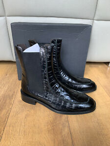 RRP £140 - ANTHROPOLOGIE CHELSEA AMY BOOTS Black Croc Real Leather UK 7 / 40