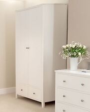 Brooklyn WHITE Double Wardrobe.Large 2 door wardrobe with deep drawers.STURDY