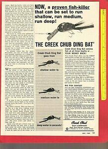 "Vintage Original 1964 CREEK CHUB BAIT CO. ""Ding Bat"" Bass Fishing Lure Ad"