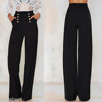 Womens High Waist Buttons Palazzo Wide Leg Flared Ladies Plain Trousers OL Pants