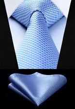 "Men Blue Houndstooth 3.4""Silk Tie Party Wedding Pocket Sqaure Set New #TG603B8S"